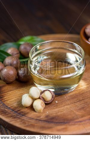Macadamia Nuts Neat The Can With Macadamia Oil. Great Photo For Your Needs.