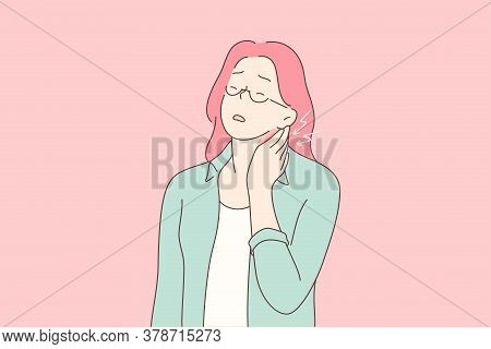 Fatigue, Pain, Massage, Medicine, Health, Care Concep. Young Unhappy Tired Woman Girl Cartoon Charac