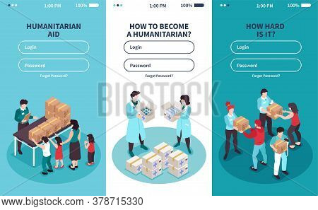 Vertical Isometric Icons Set With Login Form And Volunteers Providing Humanitarian Support 3d Isolat