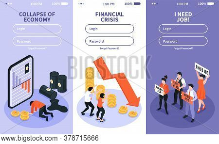 Isometric Financial Crisis Set Of Three Vertical Banners With Website Fields For Entering Username A