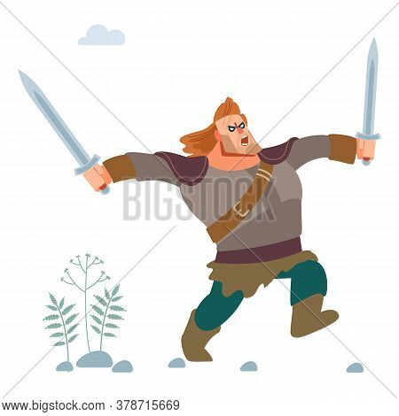 Viking. Warrior Of The North Character. Medieval Viking In Armor Attacks With Two Swords. Vector Iso