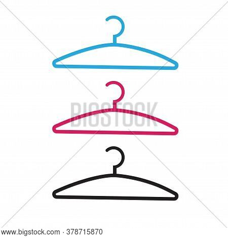 Clothes Hanger Vector Icon Isolated Line Outline Style Illustration, Dress Coat Hanging Hook Clipart