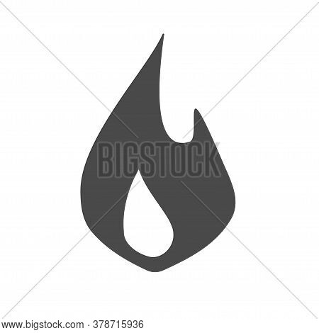 Fire Flame Logo Icon Vector Black And White Pictogram Shape Flat Cartoon, Monochrome Ignite Blaze Sy