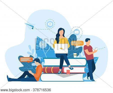 Girl Sitting On Pile Of Books. Concept Illustration Of Online Courses, Distance Studying, Self Educa