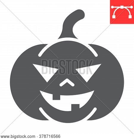 Halloween Pumpkin Glyph Icon, Halloween And Scary, Pumpkin Sign Vector Graphics, Editable Stroke Sol