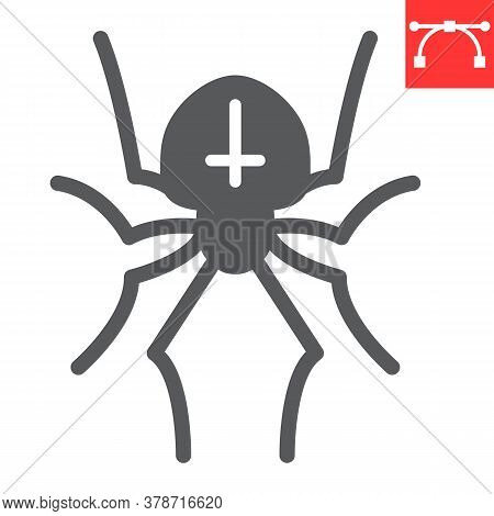 Spider Glyph Icon, Halloween And Scary, Arachnid Sign Vector Graphics, Editable Stroke Solid Icon, E