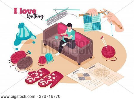 Isometric Love Knitting Composition With Ornate Text And Female Character Surrounded By Needlework I