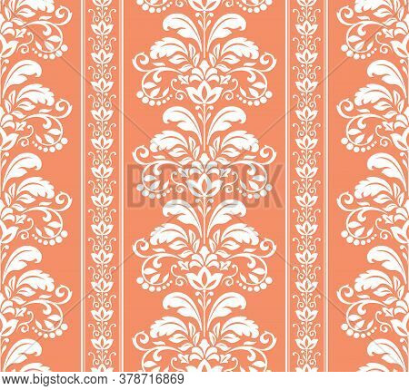 Wallpaper In The Style Of Baroque. Seamless Background. White And Pink Floral Ornament. Graphic Patt
