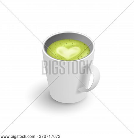 Realistic 3d Cup Of Hot Aromatic Green Japanese Tea Matcha Latte Drink. A Teacup Isometric View Isol