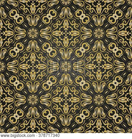 Classic Seamless Vector Black And Golden Pattern. Damask Orient Ornament. Classic Vintage Background