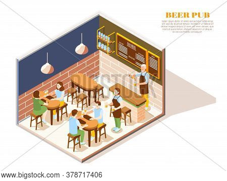 Restaurant Cafe Beer Bar Pub Interior Isometric View With Bartender And Waiter Serving Clients Vecto