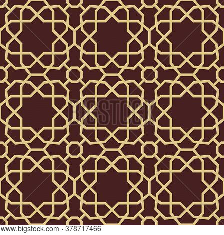 Seamless Vector Brown And Golden Ornament In Arabian Style. Geometric Abstract Background. Pattern F
