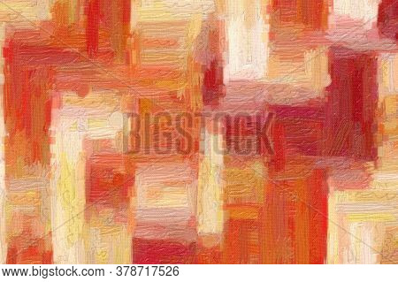 Red, Brown And White Lines Bristle Brush Abstract Paint Background.