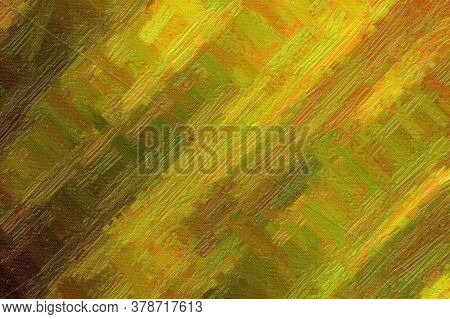 Yellow, Pink And Green Bristle Brush Abstract Paint Background.