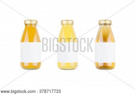 Summer Fruits Juices - Orange Juice, Mango, Apple In Glass Bottles With Blank Label Isolated, Mock U