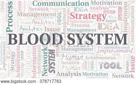 Blood System Typography Vector Word Cloud. Wordcloud Collage Made With The Text Only.