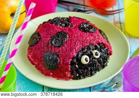 Herring Salad With Beetroot Shaped Funny Ladybug For Kids Meal