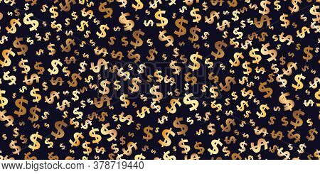 Seamless Pattern Of Symbols Of Dollar Flying Currency. Trendy Investment Pattern. Golden Vector Back