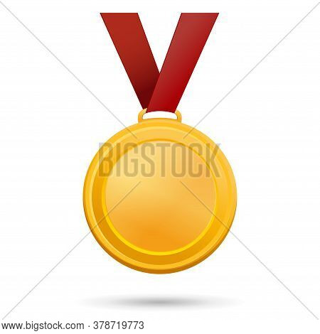 Gold Medal On A Red Ribbon. Vector Illustration Isolated On White Background