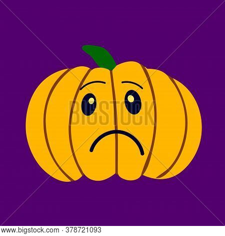 Sad Character Pumpkin. Symbol Of The Halloween Holiday. Pumpkin For Your Design For The Halloween Ho
