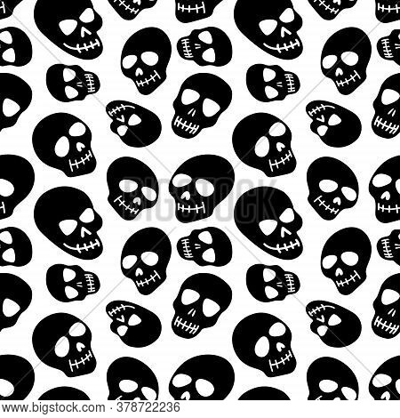The Pattern Of The Skull. Seamless Pattern With White Skull, Isolated On A White Background.vector I