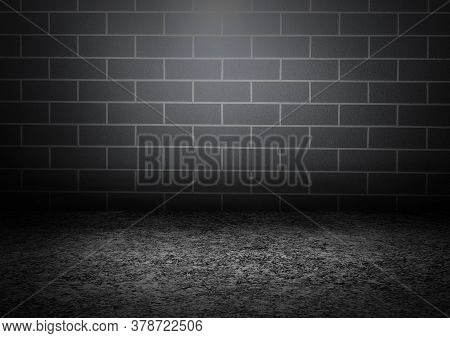 A Dark Room Consisting Of White And Black Concrete Floors With A Masonry Wall Gliding Aside. The Lig