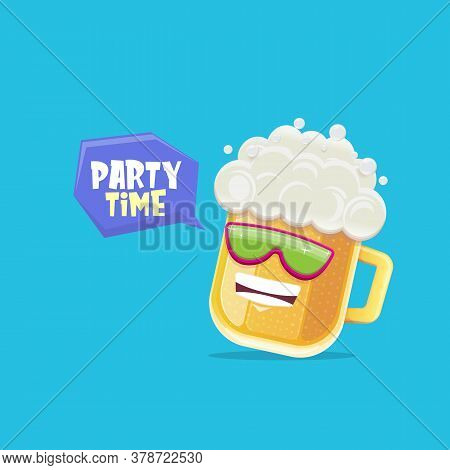 Vector Cartoon Funky Beer Glass Character With Sunglasses Isolated On Blue Background. Vector Funny