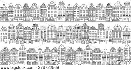 Vector Seamless Pattern With Townhouses In European Style. Hand Drawn Houses Black On White. Endless