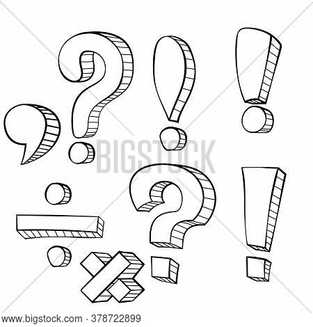 Set Of Hand Drawn Dot, Comma, Exclamation And Question Marks On A Transparent Background. Cartoon Pu