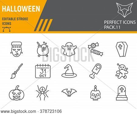 Halloween Line Icon Set, Holiday Symbols Collection, Vector Sketches, Logo Illustrations, Halloween