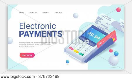 Electronic Payments Via Credit Card Isometric Web Page Concept With 3d Payment Machine, Plastic Debi