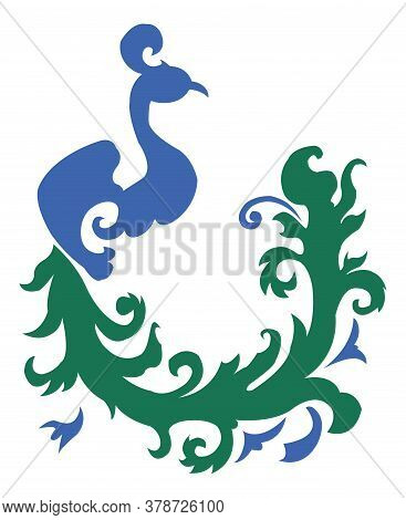 Peacock Vector Element Of Ornament. Torso Blue, Tail Green.