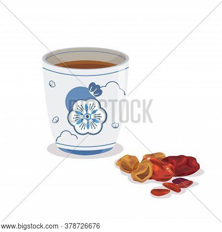 A Cup Of Chinese Traditional Herbs Drink And Dried Herb.