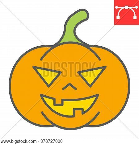 Halloween Pumpkin Color Line Icon, Halloween And Scary, Pumpkin Sign Vector Graphics, Editable Strok