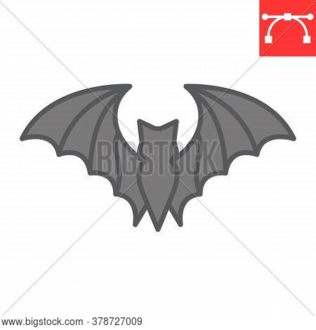 Bat Color Line Icon, Halloween And Scary, Bat Sign Vector Graphics, Editable Stroke Filled Outline I
