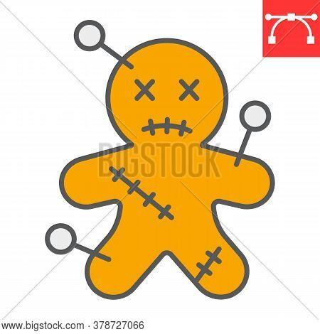 Voodoo Doll Color Line Icon, Halloween And Scary, Voodoo Doll Sign Vector Graphics, Editable Stroke