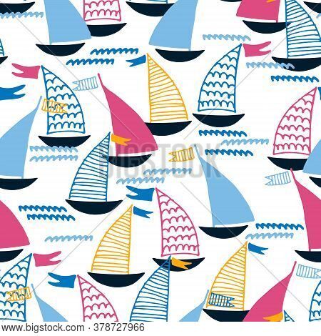 Seamless Pattern With Hand Drawn Sailing Boats And Waves On White Background For Surface Design And