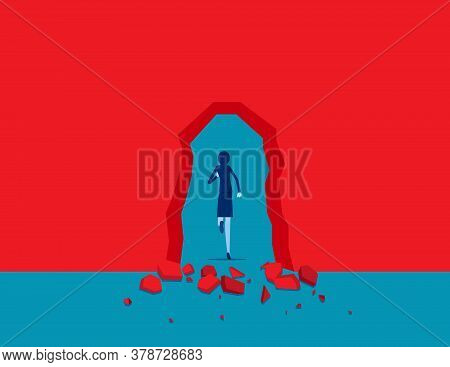 Breaking Through Red Wall. Break Through Obstacles. Flat Cartoon Vector Illustration