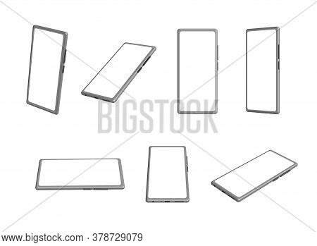Vector Smartphone Mock-up Set In Different Position, Mobile Phone Collection, 3d Rendering, Perspect