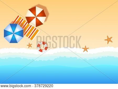 Copy Space Beach Vector Illustration, Beach Resort Illustration With Sand, Sea And Umbrellas, Empty
