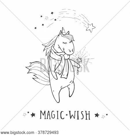 Vector Illustration Of Hand Drawn Cute Unicorn In Scarf With Shooting Star, Magic Wand And Text - Ma