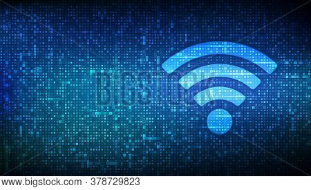 Wi-fi Network Icon. Wi Fi Sign Made With Binary Code. Wlan Access, Wireless Hotspot Signal Symbol. M