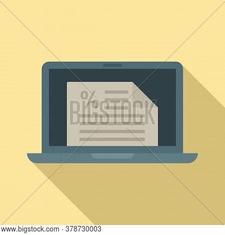 Laptop Online Loan Icon. Flat Illustration Of Laptop Online Loan Vector Icon For Web Design