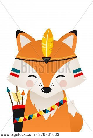 Cute Fox Have Headdress With Feathers On Head. Woodland Forest Animal. Cartoon Apache Fox. Design Ca