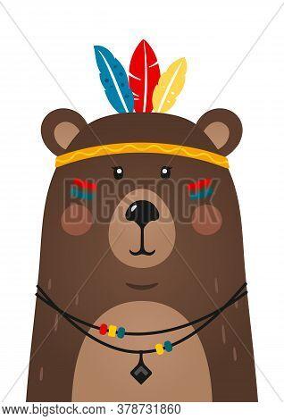 Cute Bear Have Headdress With Feathers On Head. Woodland Forest Animal. Cartoon Apache Bear. Design