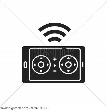 Drone Control Smartphone Black Glyph Icon. Mobile App Quadcopter Remote Control. Online Service For
