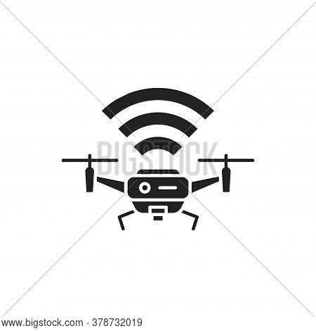 Drone Quadrocopter With Radio Waves Black Glyph Icon. Aircraft Device Concept. Unmanned Control. Del