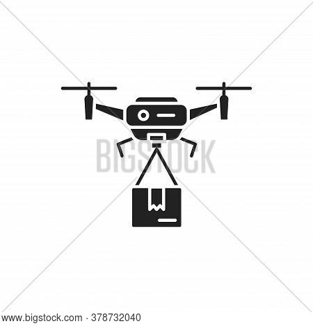 Drone Delivery Black Glyph Icon. Quadcopter Carrying A Package. Aircraft Device Concept. Sign For We