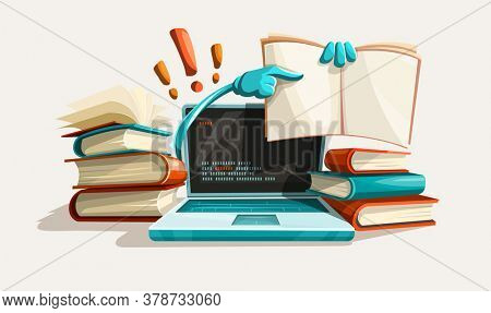 Modern computer technologies education help. Answers from manuals. Paper books library literature with solution tasks. Education and studying concept. Searching for answer. 3D illustration.