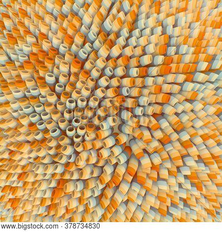 Modern Round Shape Stalks 3d Rendering Digital Illustration. Abstract Multi Colored Background. Mode